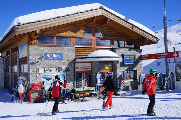 Riffelberg station stands beside the ski slopes. The toboggan run from Rotenboden ends here.