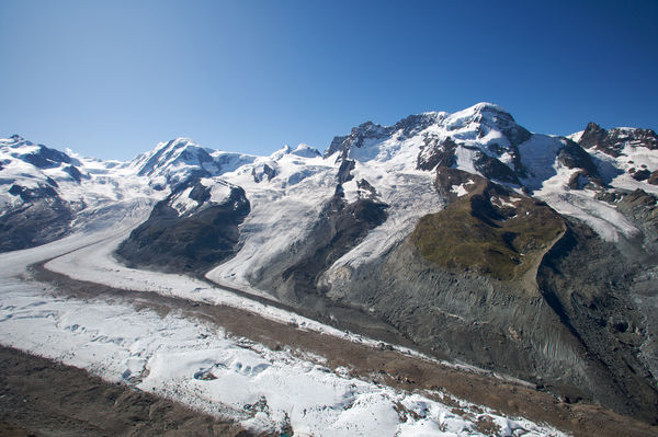 The Breithorn is one of the chain of 4,000-metre peaks that flanks the Gorner Glacier.