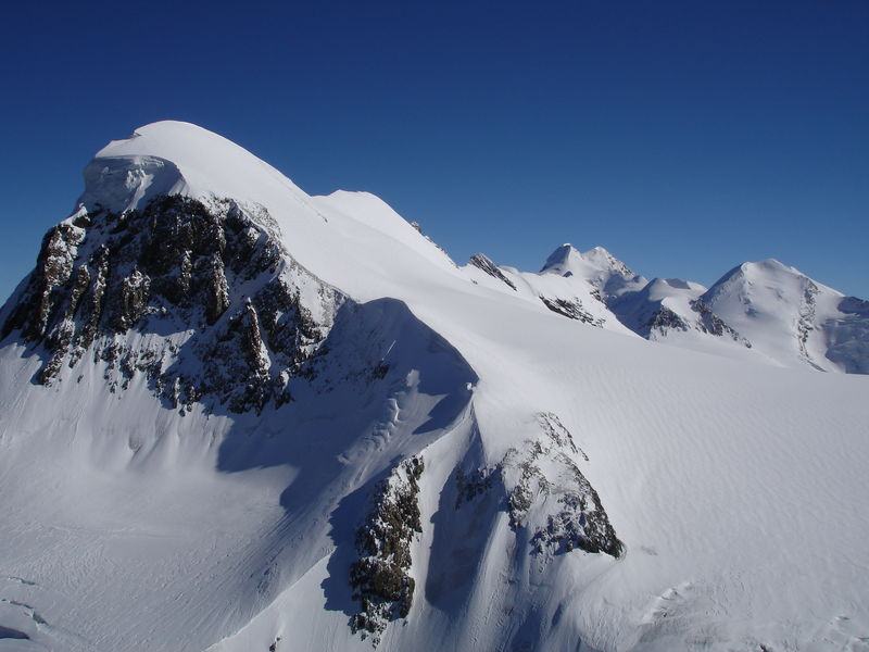The view of the Breithorn from the Klein Matterhorn.