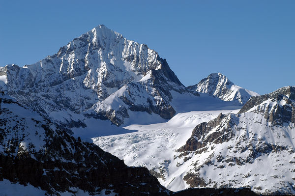 The Dent Blanche seen from the east. The mountain has four regular ridges.