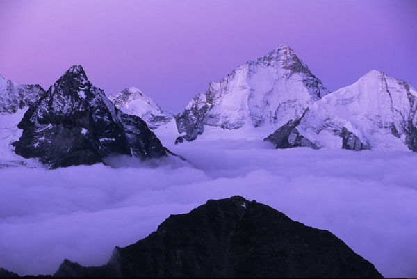 Pinnacles above the cloud just before sunrise: the Dent d'Hérens (left), Zinalrothorn (centre) and Dent Blanche.