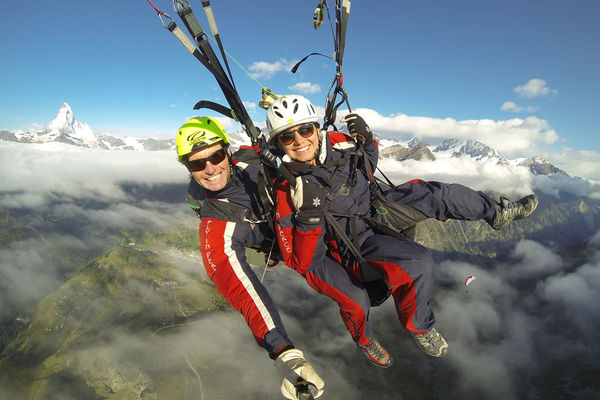 Tandem Paragliding - Summer - in front of Matterhorn