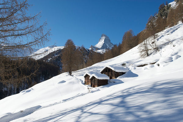 The Matterhorn behind snow-covered meadows.