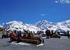 Die Aussichtsplattform eröffnet den Blick in alle Richtungen. Im Bild Monte Rosa und Liskamm (links).
