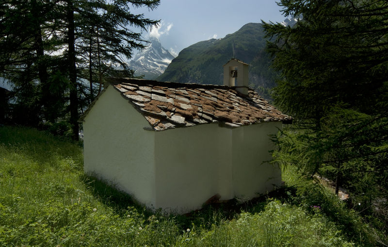 The chapel of St Lucia in the Ried area, Zermatt: a peaceful place with view of the Matterhorn.