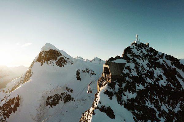 From Matterhorn glacier paradise, mountaineers and hikers set out to conquer the Breithorn (photo left).