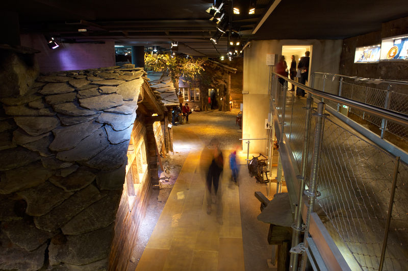 The subterranean world includes original buildings of old Zermatt.