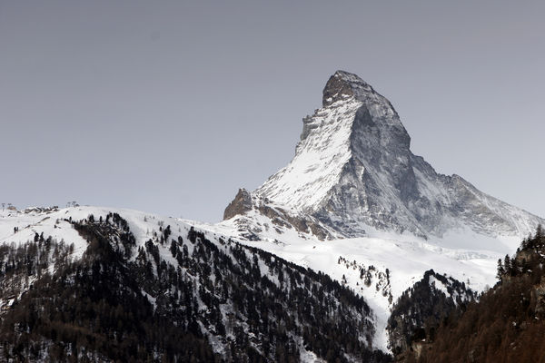East and north faces of the Matterhorn with the Zmuttgrat ridge (right), seen from Findeln (2,100 m).