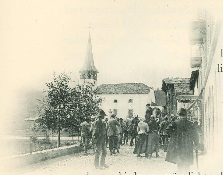 L'ancienne église villageoise de Zermatt avant les transformations en 1910.