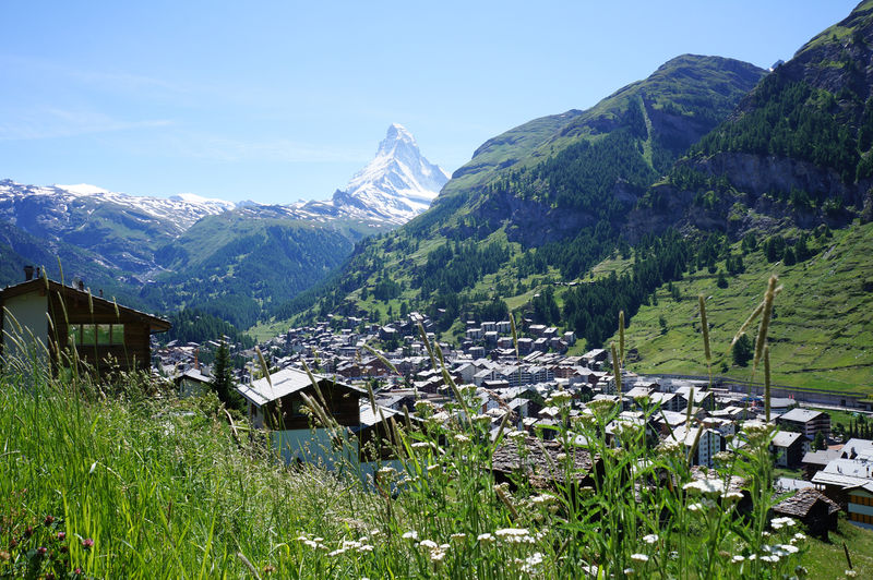 On the edge of the forest, there is a clear view of the village and the Matterhorn - a wonderful view.