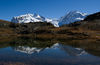 "Riffelsee, looking east/south-east: Monte Rosa (left) with the Dufourspitze (black peak to middle of picture, 4,634 m, Switzerland's highest summit) and Liskamm (right, 4,527 m), also known as the ""man-eater""."