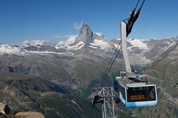 A popular outing: sunrise ride with view of the Matterhorn lit up by the sun's first rays.