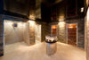 Shower and sauna area in the spa of the Hotel Hemizeus, Zermatt.