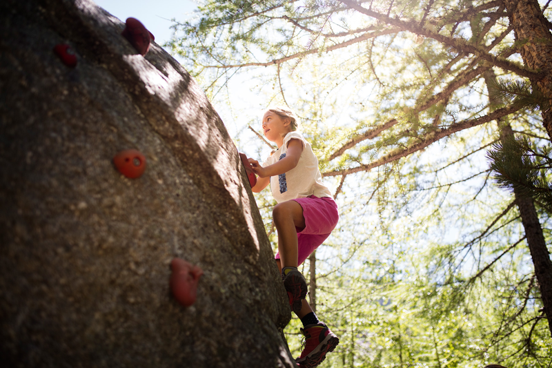 The giant climbing boulder is one of the big attractions at the Dossen glacier garden playground.