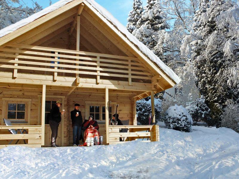 Blockhaus im Ferienpark Arber in der Glasstadt Zwiesel im Winter