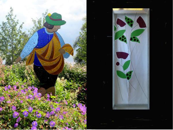 Glasskulptur Sämann (links) und Glaskunst-Unikat (rechts) der Glaserei Poczewski