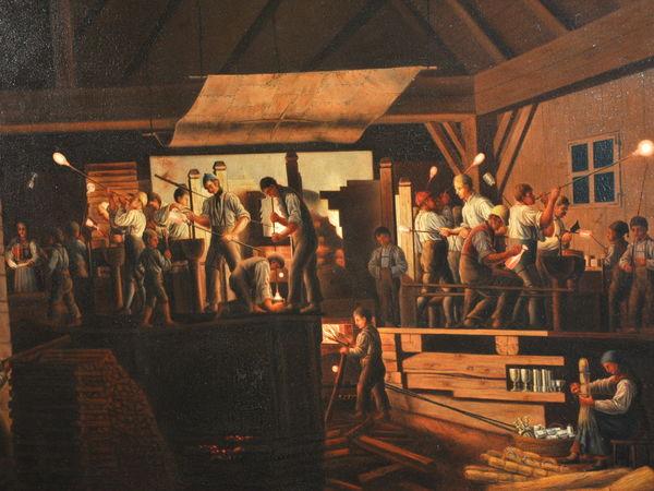 Ölbild der ehemaligen Glashütte Schachtenbach, im Museumsschlösschen Theresienthal zu bewundern