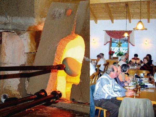 Glasofen und Gäste in der Rotwaldglashütte in Zwiesel