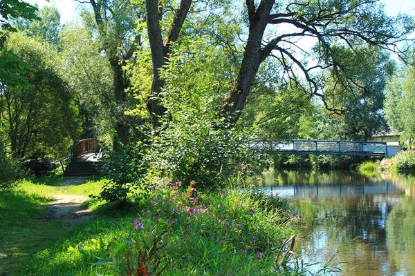 Idyllische Brücke im Stadtpark Zwiesel