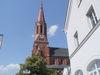 Der mächtige Turm der Stadtpfarrkirche Zwiesel